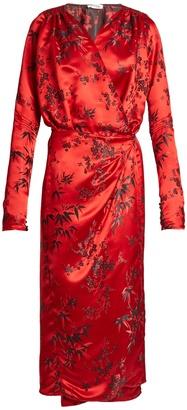 ATTICO Victoria Oriental satin-jacquard midi dress