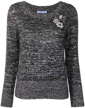 Blumarine embroidered fitted sweater