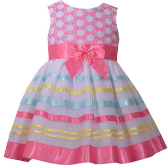 Bonnie Jean sleeveless ballerina embroidered bodice with ribbon trim skirt - Baby Girls $56 thestylecure.com