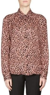 Saint Laurent Rose Print Silk Shirt