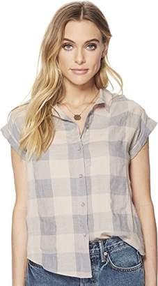 Lucky Brand Women's Short Sleeve Button UP Plaid TOP