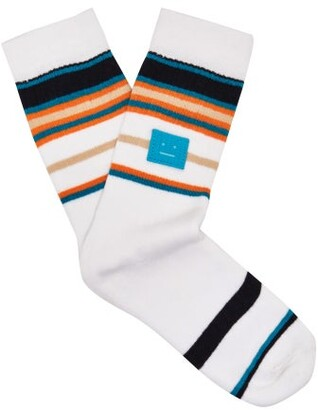 Acne Studios Striped Stretch Cotton Socks - Womens - White Multi