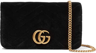 Gucci Gg Marmont Micro Quilted Velvet And Textured-leather Shoulder Bag - Black