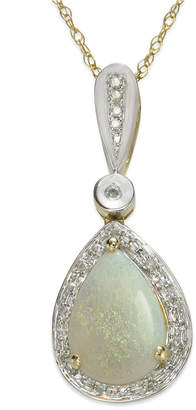 """Macy's Opal (7/8 ct. t.w.) and Diamond (1/10 ct. t.w.) 18"""" Pendant Necklace in 14k Gold and White Gold"""