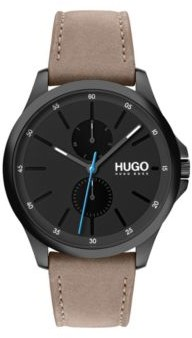 HUGO Multi-eye chronograph watch with beige leather strap
