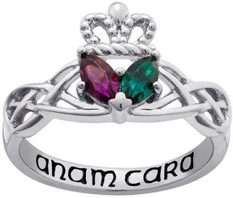 Celtic FINE JEWELRY Personalized Sterling Silver Couples Claddagh Knot Ring
