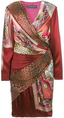 Etro mixed print wrap dress