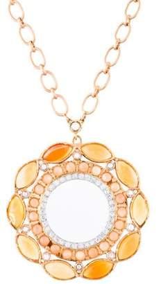Irene Neuwirth 18K Fire Opal, Moonstone & Diamond Pendant Necklace