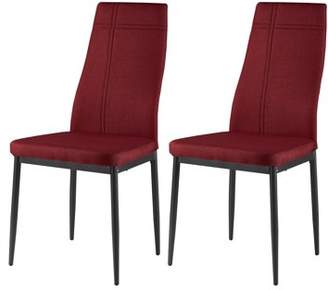 Pilaster Designs Bri Red Fabric & Metal Frame Modern Kitchen & Dining Side Chairs (Set Of Two)