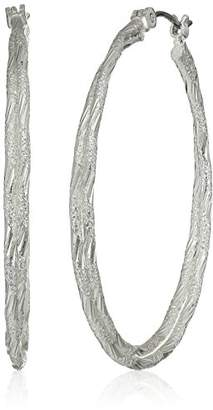 Tone Diamond Cut Textured Double Layer Hoop Earrings