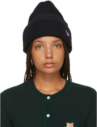 MAISON KITSUNÉ Black Tricolor Fox Ribbed Beanie
