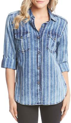 Karen Kane Striped Cotton Roll-Sleeve Shirt