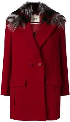 Fendi fur trim double-breasted coat