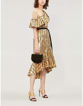 Temperley London Eliska one-shoulder ruffled metallic printed dress