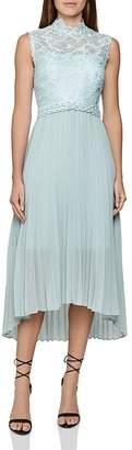 Reiss Aideen Mixed-Media Pleated Midi Dress