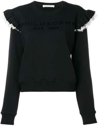 Philosophy di Lorenzo Serafini ruffle lace trim sweatshirt