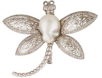 18K Diamond & Pearl Dragonfly Brooch