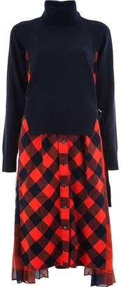 Sacai tartan turtleneck dress
