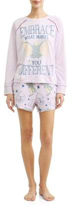 Disney Women's and Women's Plus Dumbo T-shirt Pajama Pant Set