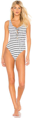 Seafolly Inka Stripe Lace Up One Piece