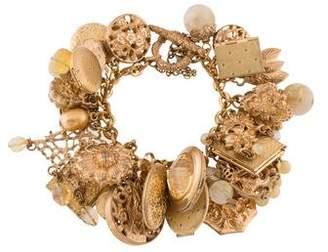 Stephen Dweck Rutilated Quartz, Citirine & Pearl Charm Bracelet