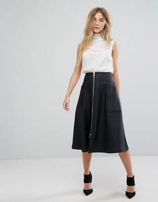 Asos DESIGN Leather Look Midi Skirt with Zip and Pockets