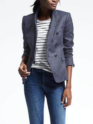 Double-Breasted Chambray Blazer $168 thestylecure.com