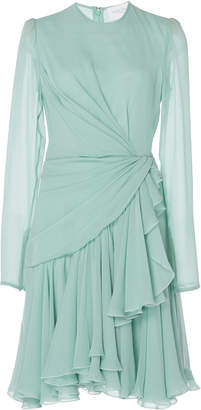Giambattista Valli Draped Silk-Chiffon Mini Dress