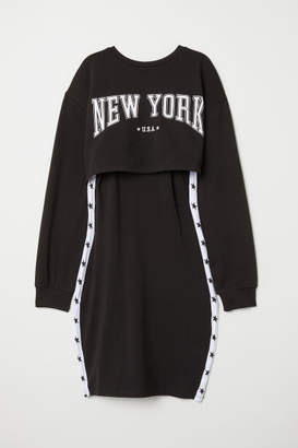 H&M Jersey Dress with Sweatshirt - Black