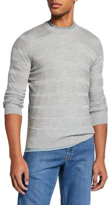 Neiman Marcus Men's Textured Stripe Cashmere/Silk Crewneck Sweater