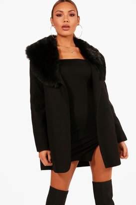 boohoo Faux Fur Trim Coat