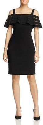 Adrianna Papell Cold-Shoulder Pintuck Dress