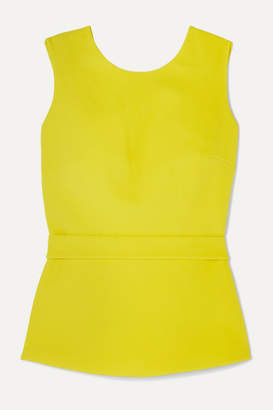 Safiyaa Riddhi Open-back Belted Crepe Top - Lime green