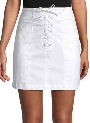A.L.C. Women's Kylie Mini Lace-Up Denim Skirt