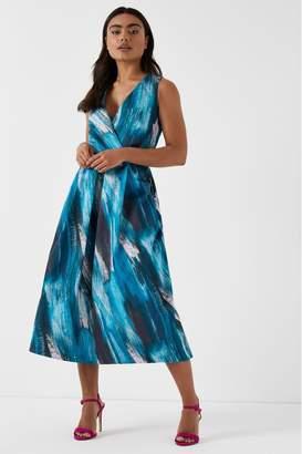 Closet Womens Wrap Neckline Full Skirt Dress - Blue