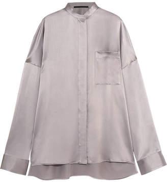 Haider Ackermann - Oversized Silk-satin Shirt - Stone $840 thestylecure.com