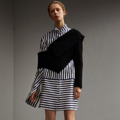 Burberry Burberry Striped Silk Cotton Shirt Dress