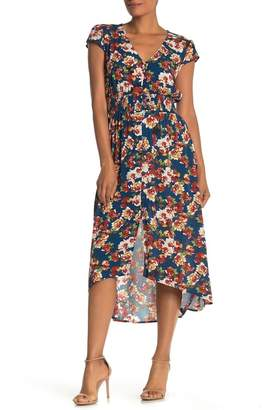 BeBop Floral V-Neck Cap Sleeve Smocked Midi Dress