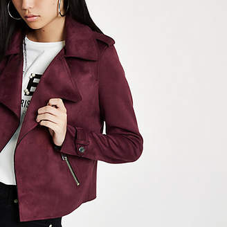River Island Dark red faux suede cropped trench jacket