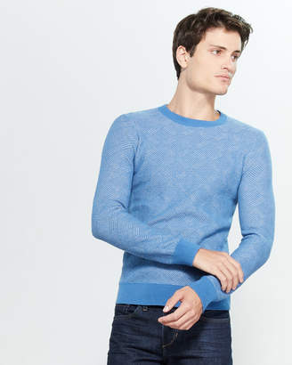 Gant Texture Geometric Pattern Long Sleeve Sweater