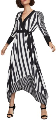 BCBGMAXAZRIA Stripe Faux Wrap Dress