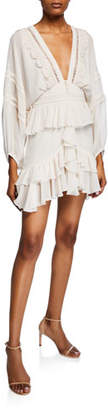 Shona Joy Rafaella Plunge-Neck Long-Sleeve Frill Mini Dress