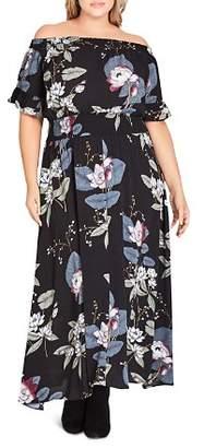 City Chic Plus Blossom Fest Off-the-Shoulder Maxi Dress