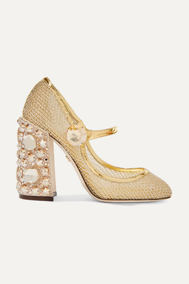 3ed718739f8 Dolce   Gabbana Crystal-embellished Metallic Mesh Mary Jane Pumps