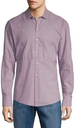 Zachary Prell Men's Micro Check Long-Sleeve Cotton Button-Down Shirt