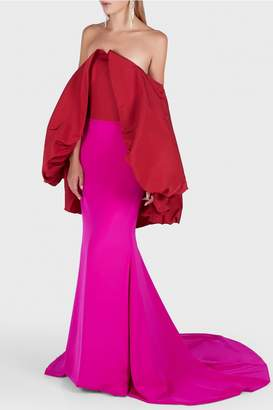 Christian Siriano Two Tone Bubble Back Gown
