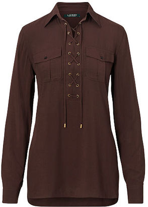 Ralph Lauren Lace-Up Crepe Tunic Top $99.50 thestylecure.com
