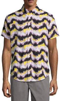 City Streets Short Sleeve Stripe Button-Front Shirt