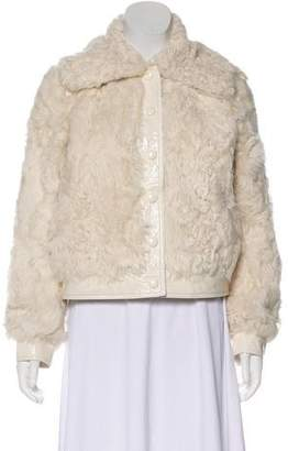 Tory Burch Fur-Trimmed Long Sleeve Jacket