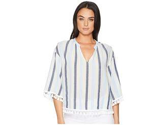 Vince Camuto Sheer Stripe Poncho with Pom Pom Trim Women's Long Sleeve Pullover